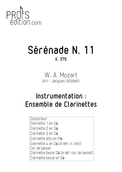Sérénade KV 375 - Ensemble de Clarinettes - MOZART W. A. - front page