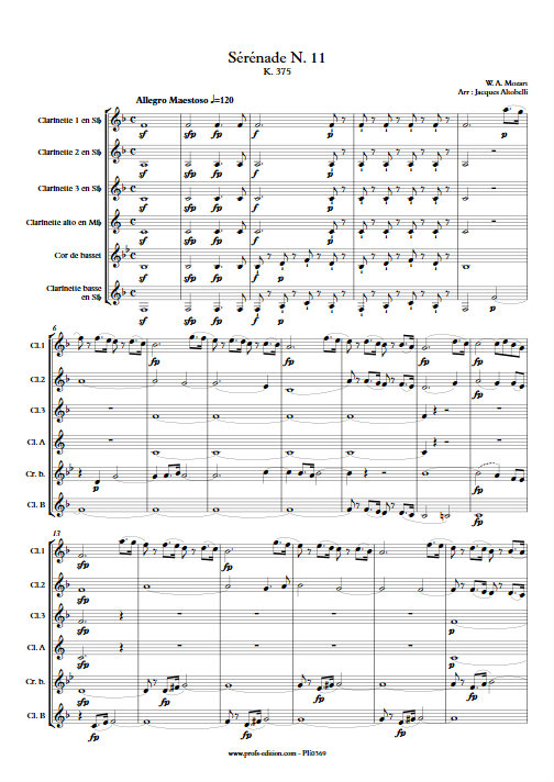 Sérénade KV 375 - Ensemble de Clarinettes - MOZART W. A. - Educationnal sheet