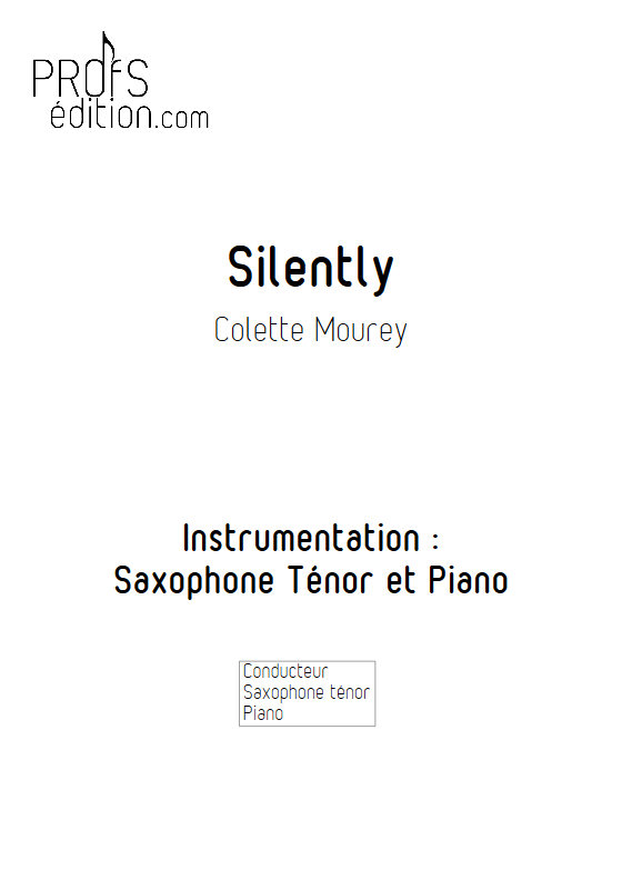 Silently - Duo Saxophone & Piano - MOUREY C. - front page