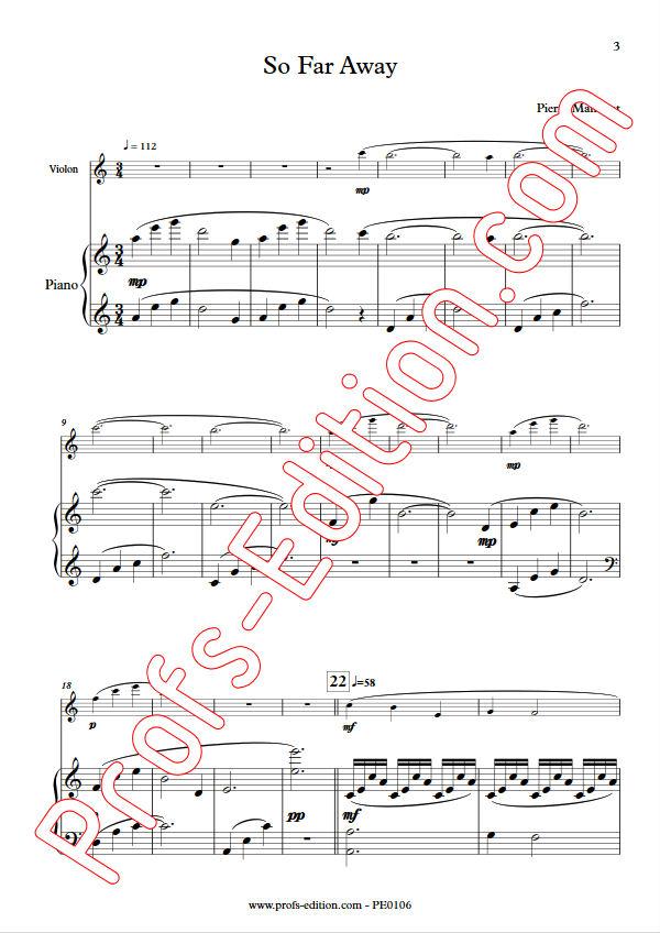 So Far Away - Duo Violon & Piano - MANCHOT P. - app.scorescoreTitle