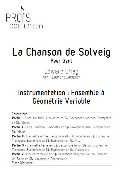 Chanson de Solveig - Ensemble à Géométrie Variable - GRIEG E. - front page