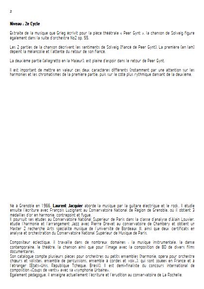 Chanson de Solveig - Ensemble à Géométrie Variable - GRIEG E. - Educationnal sheet