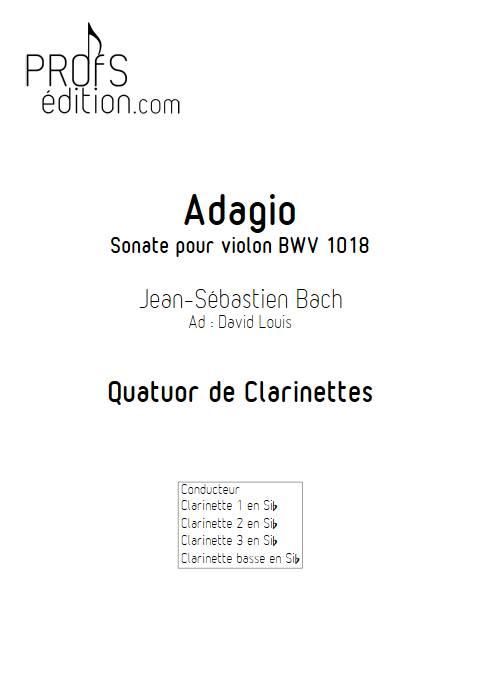 Adagio Sonate BWV 1018 - Quatuor de Clarinette - BACH J. S. - front page