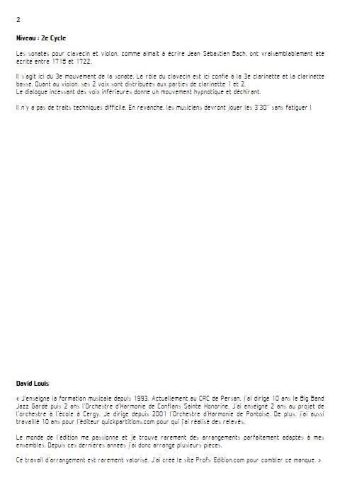 Adagio Sonate BWV 1018 - Quatuor de Clarinette - BACH J. S. - Educationnal sheet