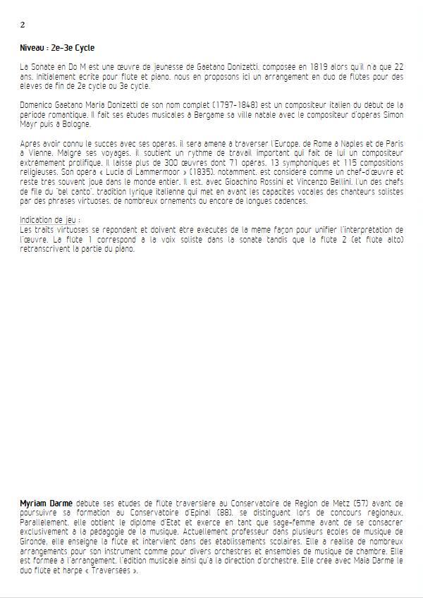 Sonate en Do Majeur - Trio de flûtes - DONIZETTI G. - Educationnal sheet