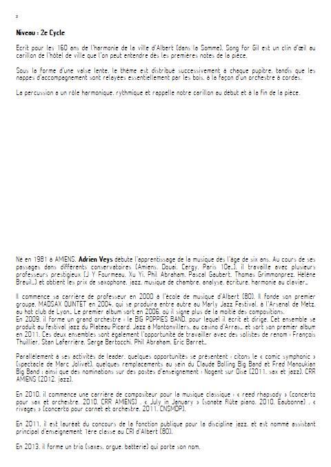 Song for Gil - Orchestre d'Harmonie - VEYS A. - Educationnal sheet