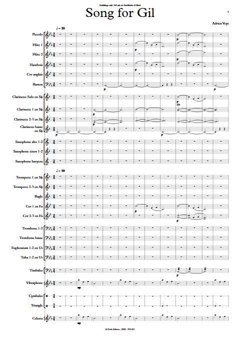 Song for Gil - Orchestre d'Harmonie - VEYS A. - app.scorescoreTitle
