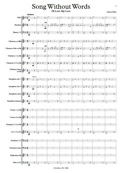 Song without words - Orchestre d'Harmonie - HOLST G. - app.scorescoreTitle
