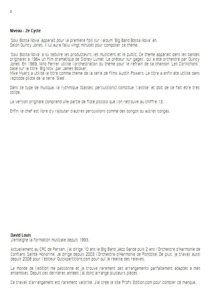 Soul Bossa Nova - Orchestre d'Harmonie - JONES Q. - Educationnal sheet