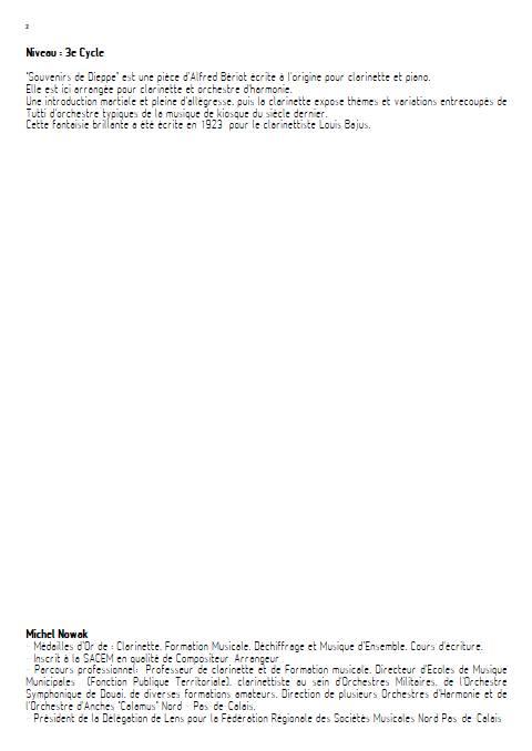 Souvenir de Dieppe - Orchestre d'Harmonie - BERIOT A. - Educationnal sheet