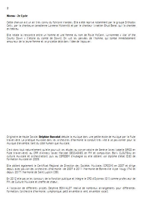 Star of the County Down - Chœur - TRADITIONNEL IRLANDAIS - Educationnal sheet