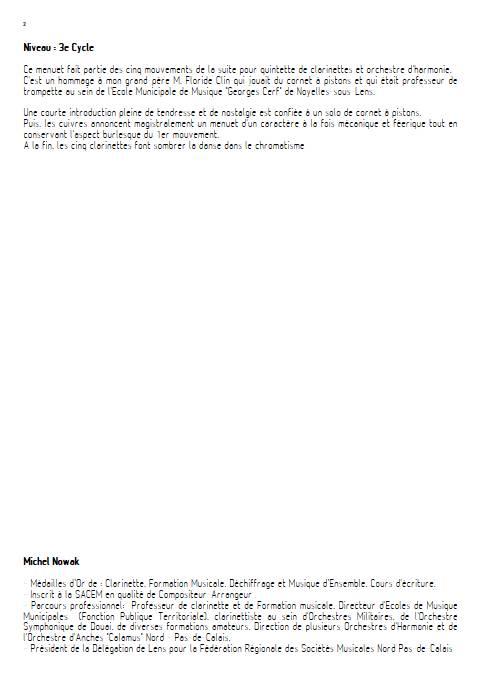 Petite Suite 2e Mouvement - Quintette de Clarintettes et Harmonie - NOWAK M. - Educationnal sheet