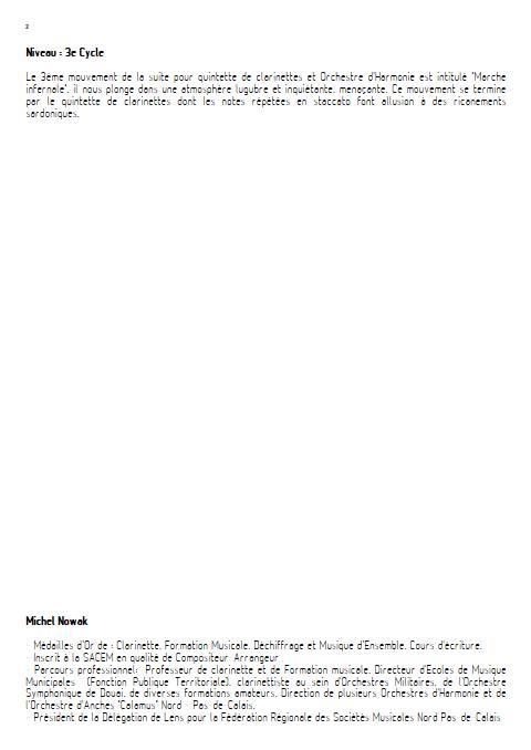 Suite pour Quintette de Clarinettes et Harmonie - 3e Mouvement - Quintette de Clarinettes & Harmonie - NOWAK M. - Educationnal sheet