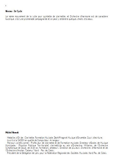 Suite pour Quintette de Clarinettes et Harmonie - 4e Mouvement - Quintette de Clarinettes & Harmonie - NOWAK M. - Educationnal sheet