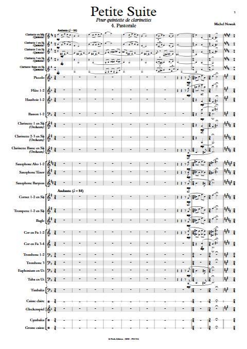 Suite pour Quintette de Clarinettes et Harmonie - 4e Mouvement - Quintette de Clarinettes & Harmonie - NOWAK M. - app.scorescoreTitle