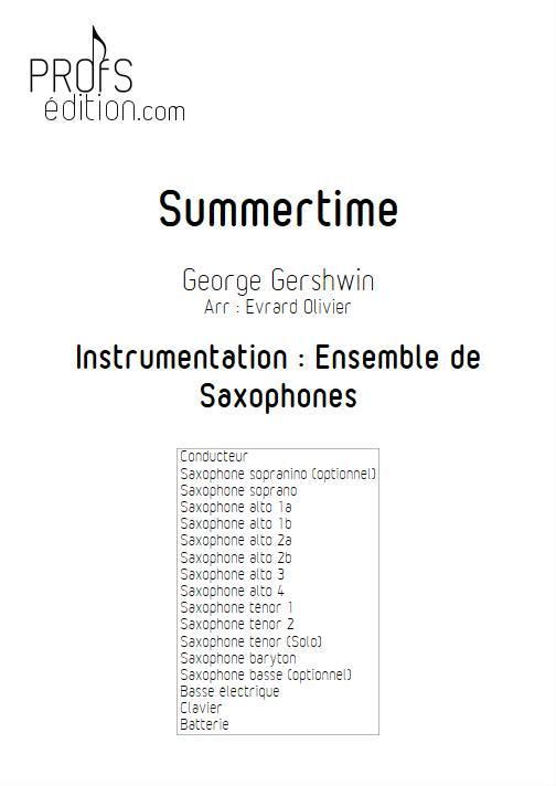 Summertime - Ensemble de Saxophones - GERSHWIN G. - front page