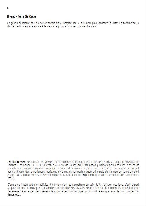 Summertime - Ensemble de Saxophones - GERSHWIN G. - Educationnal sheet