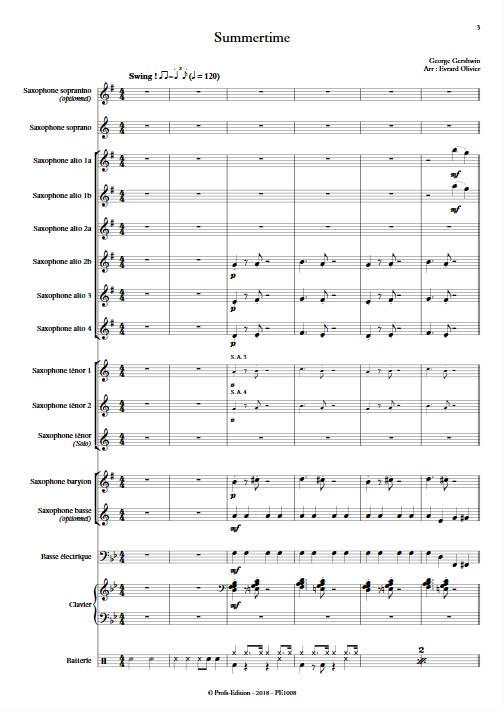 Summertime - Ensemble de Saxophones - GERSHWIN G. - app.scorescoreTitle