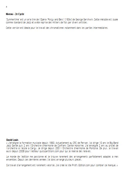 Summertime - Ensemble à Géométrie Variable - GERSHWIN G. - Educationnal sheet