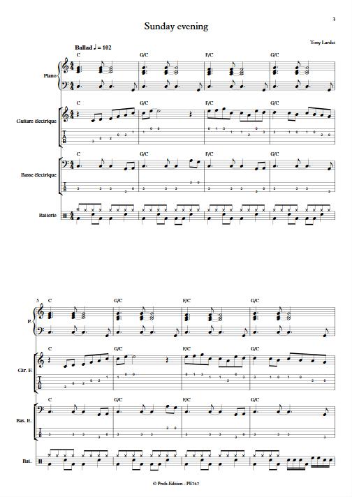 Sunday evening - Musique Actuelle - LARDET T. - app.scorescoreTitle