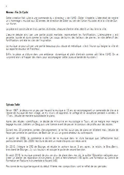 Sur un rempart Dunois - Orchestre d'harmonie - TALLE S. - Educationnal sheet