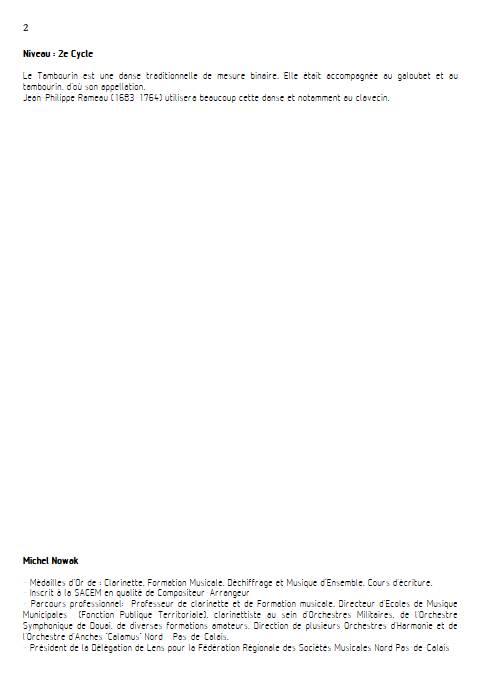 Tambourin - Ensemble variable - RAMEAU J. P. - Educationnal sheet