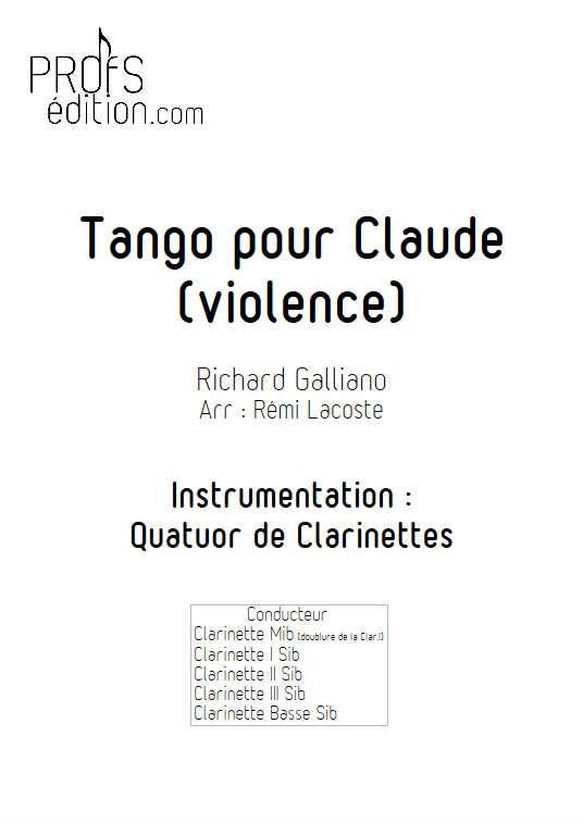 Tango pour Claude - Quatuor de Clarinettes - GALLIANO R. - front page