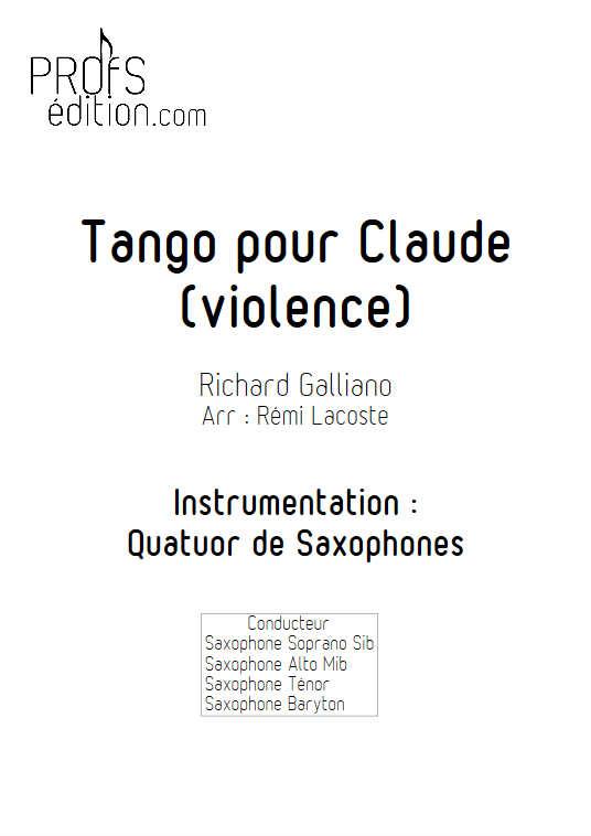 Tango pour Claude - Quatuor de Saxophones - GALLIANO R. - front page