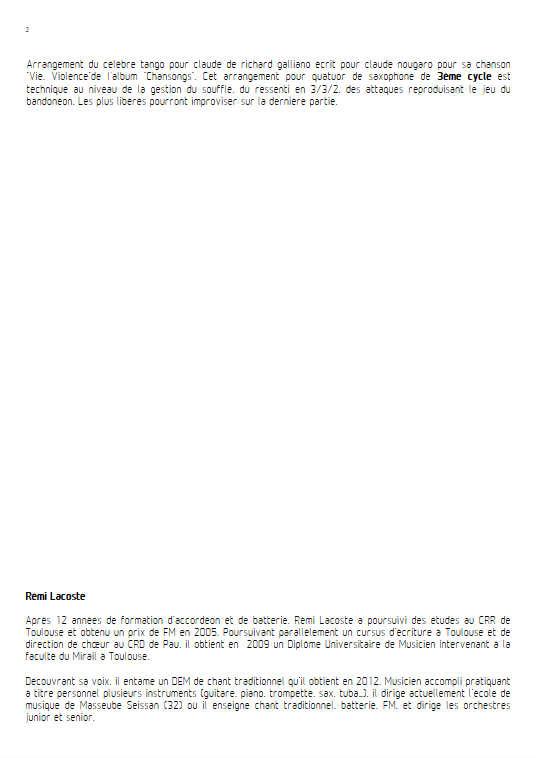 Tango pour Claude - Quatuor de Saxophones - GALLIANO R. - Educationnal sheet