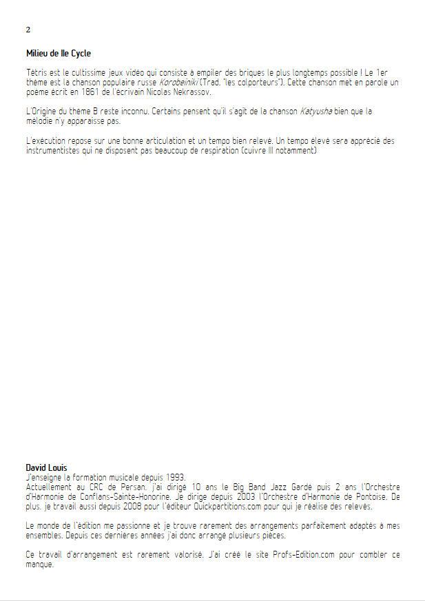Tétris (2 thèmes) - Trio Cuivres - TRADITIONNEL RUSSE - Educationnal sheet