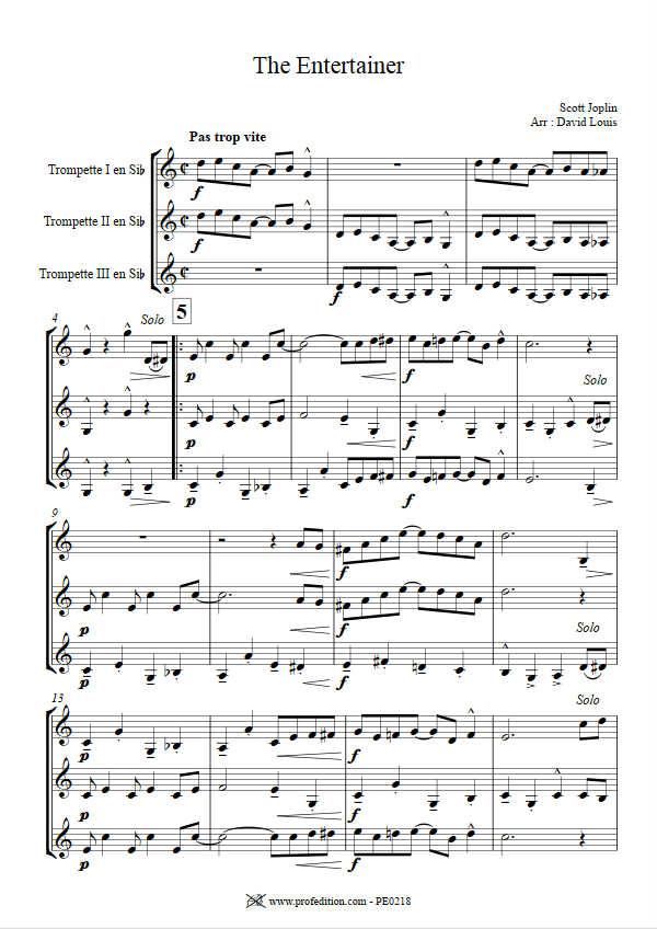 The Entertainer - Trio de Cuivres - JOPLIN S. - Educationnal sheet
