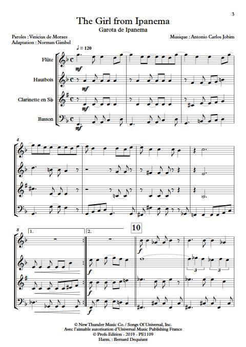 The girl from Ipanema - Quatuor à vents - JOBIM A. C. - app.scorescoreTitle