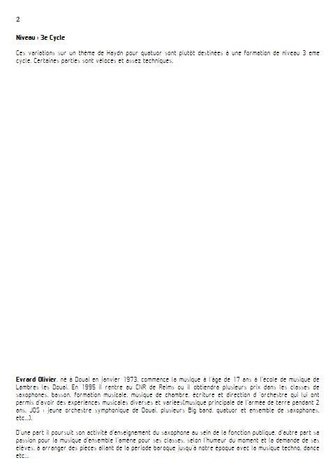 Theme et variation Haydn - Quatuor de Saxophones - HAYDN J. - Educationnal sheet