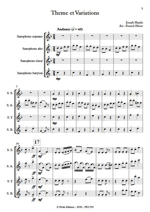 Theme et variation Haydn - Quatuor de Saxophones - HAYDN J. - app.scorescoreTitle