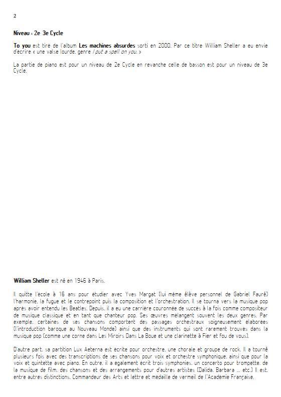 To You - Quatuor - SHELLER W. - Educationnal sheet