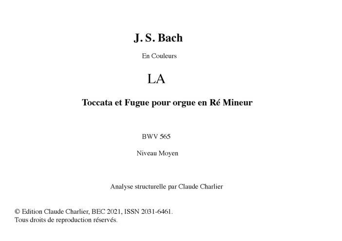Toccata BWV 565 - Analyse Musicale - CHARLIER C. - front page