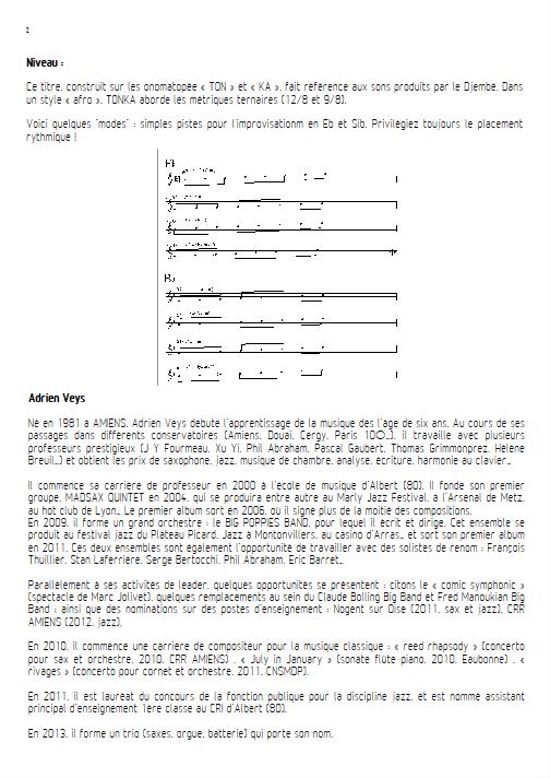 Tonka - Ensemble de Saxophones - VEYS A. - Educationnal sheet