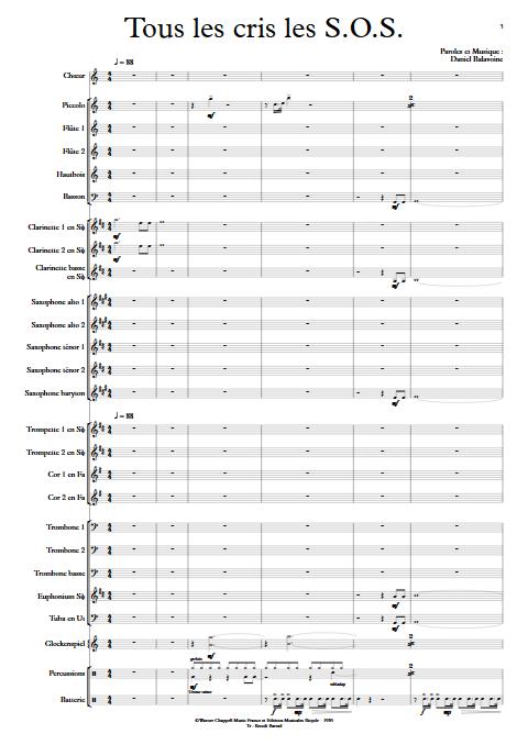 Tous les cris les SOS - Orchestre d'Harmonie - BALAVOINE D. - app.scorescoreTitle