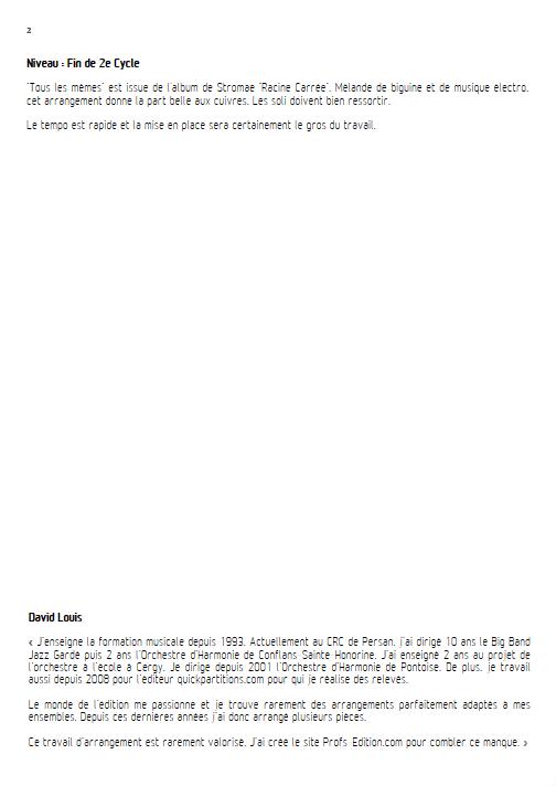 Tous les Mêmes - Ensemble à Géométrie Variable - STROMAE - Educationnal sheet