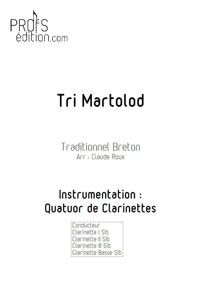Tri Martelod - Quatuor de Clarinettes - TRADITIONNEL BRETON - front page