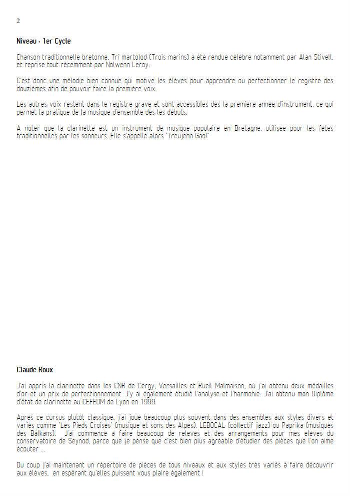Tri Martelod - Quatuor de Clarinettes - TRADITIONNEL BRETON - Educationnal sheet