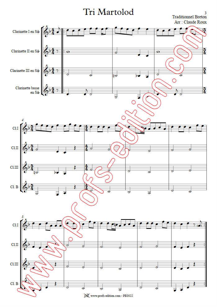 Tri Martelod - Quatuor de Clarinettes - TRADITIONNEL BRETON - app.scorescoreTitle