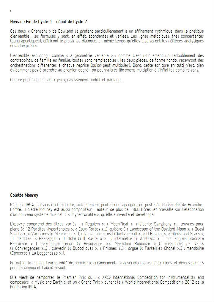 Two Songs - Ensemble Géométrie Variable - DOWLAND J. - Educationnal sheet