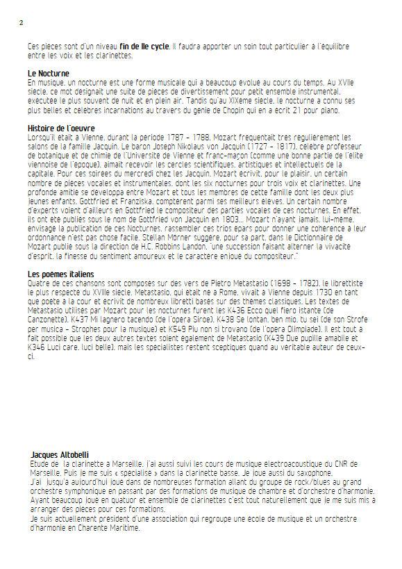 Ecco quel fiero istante KV 436 - Chœur & Quatuor Clarinettes - MOZART W. A. - Educationnal sheet