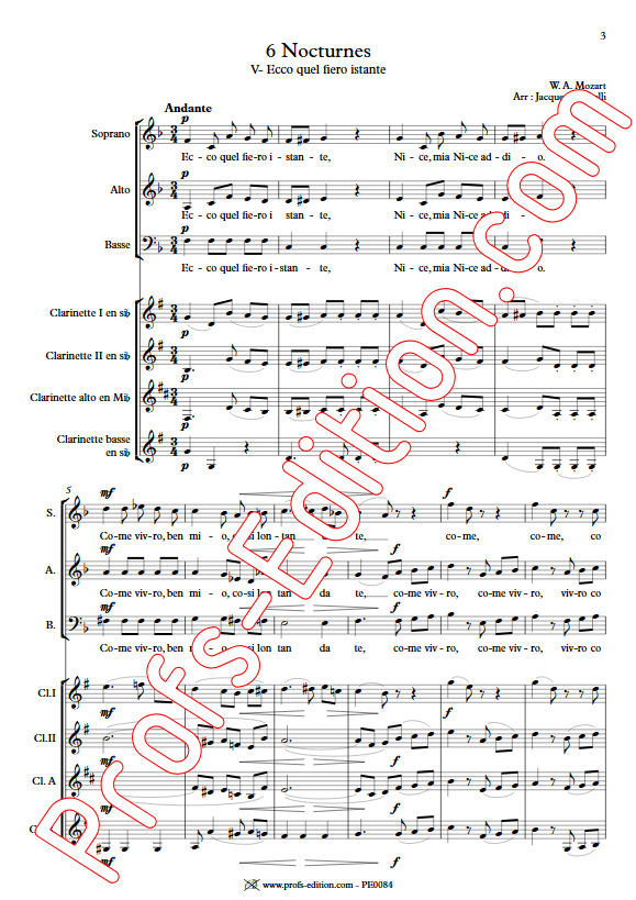 Ecco quel fiero istante KV 436 - Chœur & Quatuor Clarinettes - MOZART W. A. - app.scorescoreTitle