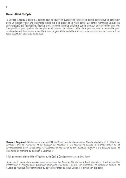 Voyage Andalou - Quatuor de Flûtes - DEQUEANT B. - Educationnal sheet
