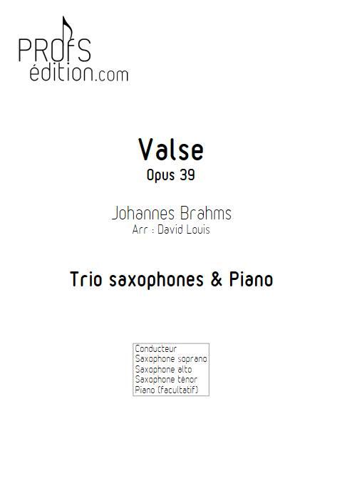 Valse n°15 Opus 39 - Trio Saxophones - BRAHMS J. - front page