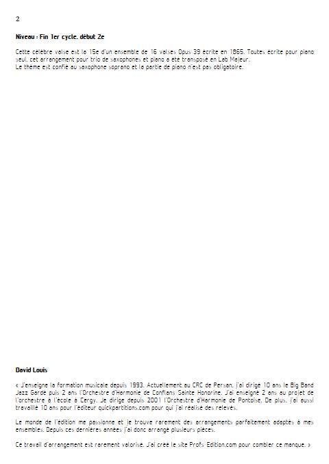 Valse n°15 Opus 39 - Trio Saxophones - BRAHMS J. - Educationnal sheet