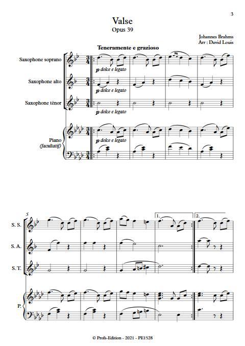 Valse n°15 Opus 39 - Trio Saxophones - BRAHMS J. - app.scorescoreTitle