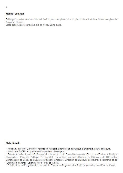 Valse sentimentale - Saxophone & Piano - NOWAK M. - Educationnal sheet